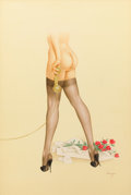 Pin-up and Glamour Art, ALBERTO VARGAS (American, 1896-1982). Nylon Stockings andFlowers From Her Admirer, c. 1950. Watercolor on board. 30 x2...