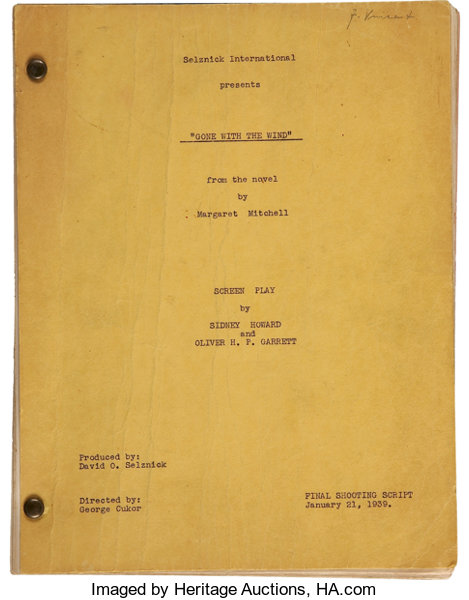 Gone With The Wind Partial Original Script Movietv Lot