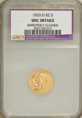 1925-D $2 1/2 --Improperly Cleaned--NCS. UNC Details. NGC Census: (175/14745). PCGS Population (257/9478). Mintage: 578...