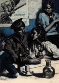 Mainstream Illustration, SAUL TEPPER (American, 1899-1987). French Café, 1939. Oil onboard. 24 x 17 in.. Signed. ...