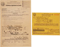 Movie/TV Memorabilia:Autographs and Signed Items, Greta Garbo Signed Driver's License Application with Permit....(Total: 2 )