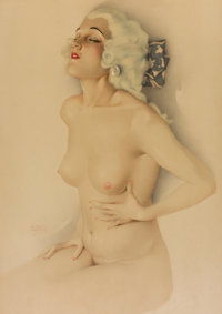 ALBERTO VARGAS (American, 1896-1982) Pin-up, 1928 Mixed media on board 38 x 26 in. Signed lower left