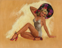 ZOE MOZERT (American, 1904-1993) Pin-Up Bonnet Pastel on board 22 x 29 in. Signed lower right<