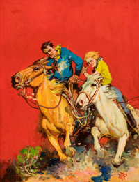 DOMINGO F. PERICONI (American, b. 1883) Western pulp cover Oil on board 29.5 x 22.5 in. Initia