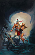Pulp, Pulp-like, Digests, and Paperback Art, KEN KELLY (American, b. 1946). Warrior and Maiden, paperbackcover, 1980. Oil on board. 30 x 19 in.. Signed lower right...