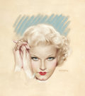 Pin-up and Glamour Art, CHARLES GATES SHELDON (American, 1889-1960). Portrait of JeanHarlow, Screenland cover, August 1935. Pastel on board. 17...(Total: 2 Items)