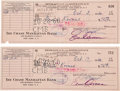 Movie/TV Memorabilia:Autographs and Signed Items, Ernie Kovacs Signed and Endorsed Checks.... (Total: 2 Items)