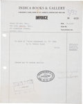Music Memorabilia:Autographs and Signed Items, Beatles Related - John Lennon Signed Gallery Invoice....