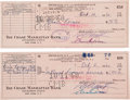 Movie/TV Memorabilia:Autographs and Signed Items, Ernie Kovacs Signed Checks, One Written to the IRS.... (Total: 2 Items)