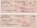 Movie/TV Memorabilia:Autographs and Signed Items, Ernie Kovacs Signed Checks.... (Total: 2 Items)