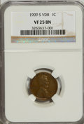 Lincoln Cents, 1909-S VDB 1C VF25 NGC....