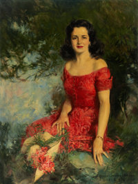 HOWARD CHANDLER CHRISTY (American, 1872-1952) Portrait of Miss Cushing Oil on canvas 50 x 38 in.<