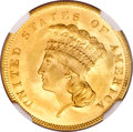 Three Dollar Gold Pieces, 1855 $3 MS66 NGC....
