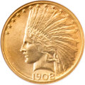 Indian Eagles, 1908-D $10 No Motto MS65 NGC....