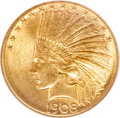 Indian Eagles, 1908-S $10 MS64 NGC. CAC....