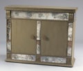 Furniture : American, A PAINTED WOOD AND MIRRORED BAR CABINET. In the style of James Mont, 20th Century. 33 x 41-1/2 x 17 inches (83.8 x 105.4 x 4...