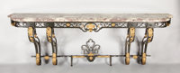 A PARCEL GILT WROUGHT IRON CONSOLE WITH MARBLE TOP Late 19th-Early 20th Century 34-1/2 x 106 x 19-1/2 inches (8