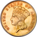 Three Dollar Gold Pieces, 1865 $3 MS64 PCGS. CAC....