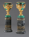 Decorative Arts, Continental:Other , A MONUMENTAL PAIR OF NEOCLASSICAL STYLE GILT BRONZE MOUNTEDMALACHITE VENEER URNS ON MARBLE PEDESTALS. 77-1/2 inches (196.9 ...(Total: 2 Items)