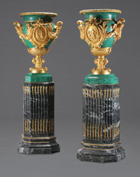 A MONUMENTAL PAIR OF NEOCLASSICAL STYLE GILT BRONZE MOUNTED MALACHITE VENEER URNS ON MARBLE PEDESTALS 77-1/2 inche