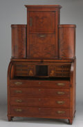 Furniture , A BALTIC NEOCLASSICAL MAHOGANY AND SATINWOOD BUREAU SECRETAIRE. Northern Europe, Circa 1820. 89 x 49-1/2 x 24-1/2 inches (22...