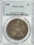 Seated Dollars, 1848 $1 AU50 PCGS....