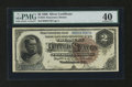 Large Size:Silver Certificates, Fr. 244 $2 1886 Silver Certificate PMG Extremely Fine 40....