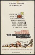 """Movie Posters:War, The Bridge On The River Kwai (Columbia, R-1963). Window Card (14"""" X22""""). Academy Award Winner. Starring William Holden, Ale..."""