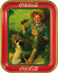 "Advertising:Soda Items, 1931 Norman Rockwell Farm Boy and Dog Coca-Cola Tray, 10.5"" x13.25"", by American Art Works, Coshocton, Ohio. Bread 'n Coke ..."
