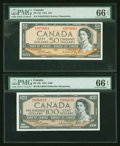 Canadian Currency: , $50 and $100 1954 Modified Portrait Notes PMG Gem Uncirculated 66EPQ. ... (Total: 2 notes)