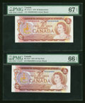 Canadian Currency: , $2 1974 Test and Replacement Notes PMG Graded. ... (Total: 2 notes)