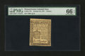 Colonial Notes:Pennsylvania, Pennsylvania October 25, 1775 3d PMG Gem Uncirculated 66 EPQ....