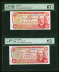 Canadian Currency: , BC-51b $50 1975 PMG Gem Uncirculated 65 EPQ. BC-51bA $50 1975 PMGSuperb Gem Unc 67 EPQ. ... (Total: 2 notes)