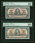 Canadian Currency: , Two $2 1937 Notes PMG Gem Uncirculated 66 EPQ. ... (Total: 2 notes)