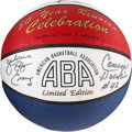 Basketball Collectibles:Others, Julius Erving and Connie Hawkins Dual-Signed Basketball. ...