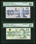 Canadian Currency: , Two Birds of Canada Specimen Notes From Set 0956 PMG Graded. ...(Total: 2 notes)