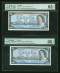 Canadian Currency: , Two $5 1954 Modified Portrait Replacements PMG Graded. ... (Total: 2 notes)