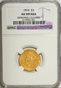 Three Dollar Gold Pieces, 1874 $3 --Improperly Cleaned--NGC. AU Details....
