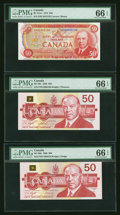 Canadian Currency: , Three $50 Notes PMG Gem Uncirculated 66 EPQ. ... (Total: 3 notes)