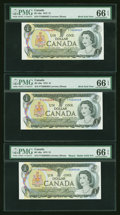 Canadian Currency: , BC-46a $1 1973 Solid 6's Serial Number with Book End Notes. ... (Total: 3 notes)
