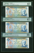 Canadian Currency: , Three $5 1972 Notes PMG Graded. ... (Total: 3 notes)