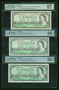 Canadian Currency: , Three BC-37bA $1 1954 Modified Portraits. ... (Total: 3 notes)