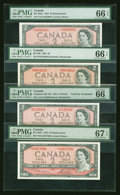 Canadian Currency: , Four $2 1954 Modified Portrait Notes PMG Graded. ... (Total: 4notes)