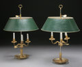 Decorative Arts, French:Lamps & Lighting, A PAIR OF FRENCH BOUILLOTTE THREE LIGHT LAMPS WITH TOLE SHADES.Early 20th Century. 25-1/2 inches (64.8 cm) high, each. ... (Total:2 Items)