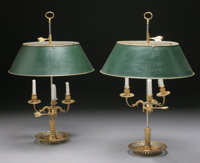A PAIR OF FRENCH BOUILLOTTE THREE LIGHT LAMPS WITH TOLE SHADES Early 20th Century 25-1/2 inches (64.8 cm) high