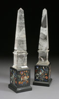 Decorative Arts, Continental:Other , A PAIR OF ROCK CRYSTAL OBELISKS. 21 inches (53.3 cm) high, each.... (Total: 2 Items)