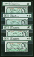 Canadian Currency: , One Low Serial Number and Three Asterisk $1 1954 Modified PortraitNotes PMG Graded. ... (Total: 4 notes)
