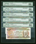 Canadian Currency: , Canadian Specimen Five Note Set PMG Gem Uncirculated 66 EPQ.. ... (Total: 5 notes)
