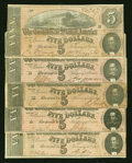 Confederate Notes:1864 Issues, T69 $5 1864. Five Examples.. ... (Total: 5 notes)