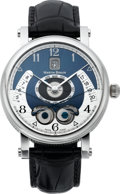 Timepieces:Wristwatch, Martin Braun Astraios Stainless Steel Wristwatch #015 With PrussianBlue Dial. ...